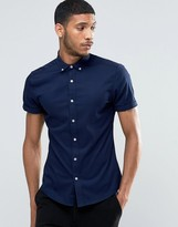 Asos Skinny Fit Shirt In Navy With Short Sleeves