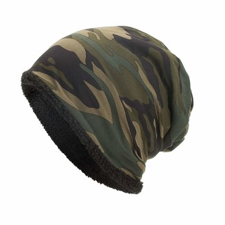 Moginp Unisex Warm Knitted Beanie Caps Hat Baggy Camouflage Winter Hats (Army Green)