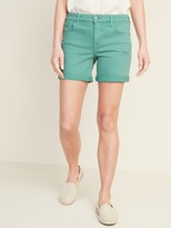 Old Navy Mid-Rise Distressed Green-Color Jean Shorts -- 5-inch inseam