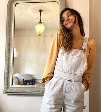 Reclaimed Vintage inspired short overall in acid wash blue
