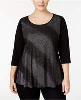 NY Collection Plus Size Metallic Swing Top