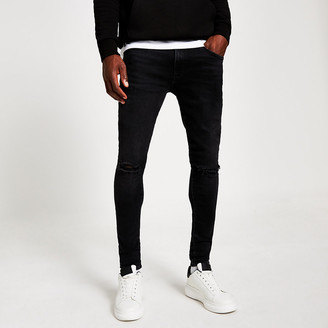 River Island Black Ollie ripped spray on jeans
