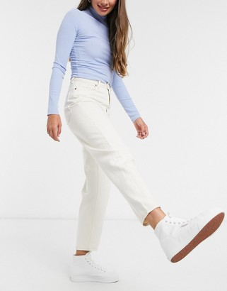 Monki Kyo organic cotton high waisted straight leg jeans in ecru