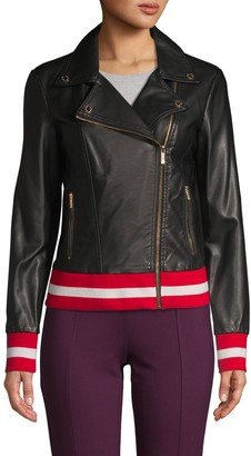 Calvin Klein Collection Faux Leather Moto Jacket