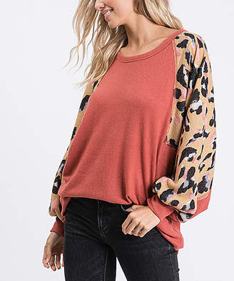 Love, Kuza Women's Tunics Marsala - Marsala Leopard Print Raglan-Sleeve Tunic - Women
