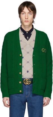 Gucci Green Wool GG Cardigan