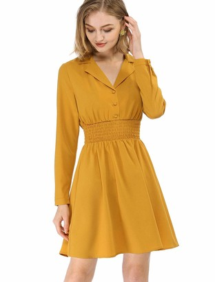 Allegra K Women's Notched Lapel Buttons Stretchy Smocked Waist Vintage A-Line Dress Yellow M UK 12