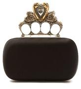 Alexander McQueen Crystal-embellished heart satin knuckle clutch