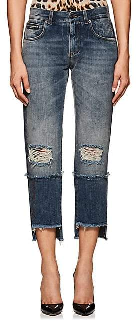 Dolce & Gabbana Women's Logo Distressed Crop Jeans - Blue