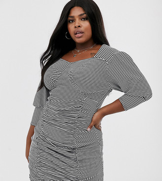 Another Reason Plus ruched front mini bodycon dress with puff sleeves in stripe