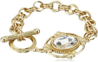 1928 Jewelry Gold-Tone Crystal Faceted Oval Stone Toggle Link Charm Bracelet