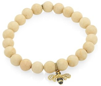 Sydney Evan 14K Yellow Gold, Two-Tone Diamond, Sapphire & White Coral Bee Charm Beaded Bracelet