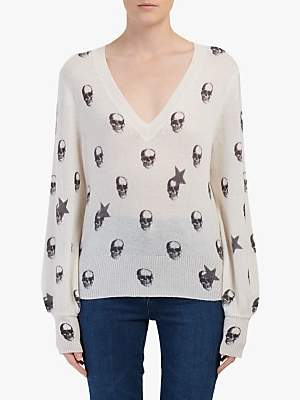 360 Sweater Jamie Skull And Stars Cashmere Jumper, Chalk/Charcoal