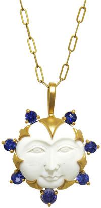 Cathy Waterman Sapphire Mammoth Ivory Moon Goddess Charm - Yellow Gold
