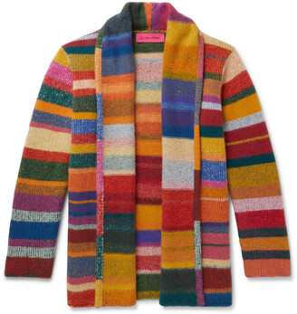 The Elder Statesman Shawl-Collar Striped Cashmere Cardigan