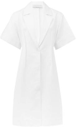 Marina Moscone - Floral-jacquard Cotton Shirt Dress - Womens - White