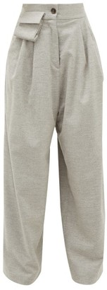 Natasha Zinko Wide-leg Wool-blend Tailored Trousers - Womens - Grey