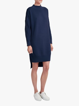 French Connection Zip Sleeve Funnel Neck Knit Dress, Utility Blue