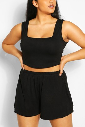 boohoo Plus Jersey Tank Top Top And Flippy Short Two-Piece