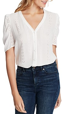 1 STATE Short-Sleeve Embroidered Crinkle Blouse