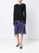 Jason Wu Luxury Basic Merino/Silk Long Sleeve Pullover With Lace Insets