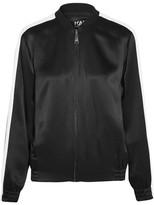 Karl Lagerfeld Embroidered Satin Bomber Jacket - Black