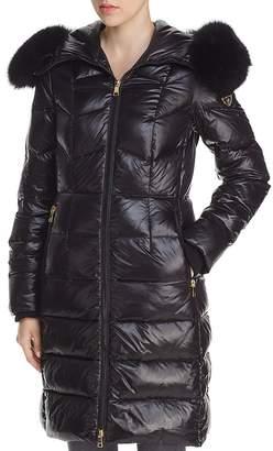 One Madison City Active Fur-Trim Long Puffer Coat
