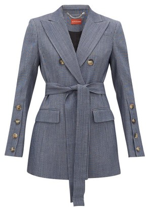Altuzarra Striped Double-breasted Wool-blend Jacket - Blue