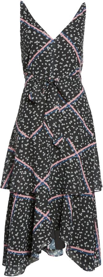 Sam Edelman Ribbon Print Tie Waist Tiered Dress