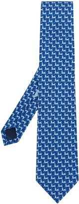 Salvatore Ferragamo Horse Print Silk Tie