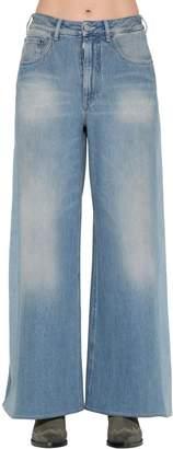 MM6 MAISON MARGIELA Wide Leg Faded Cotton Denim Jeans