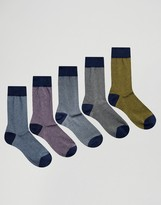Asos Socks With Colored Rib 5 Pack
