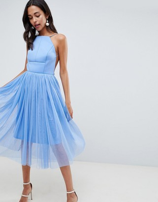 Asos Design DESIGN Premium Scuba Pinny Midi Tulle Dress-Blue