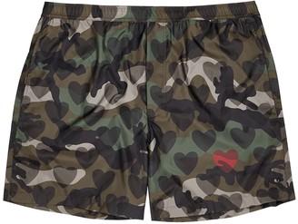 Valentino Camouflage love-print swim shorts