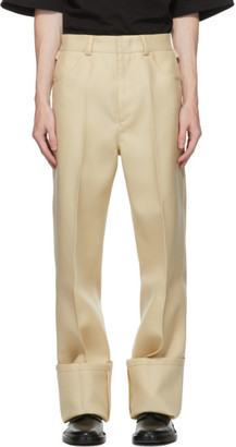 Jil Sander Beige Wool Turn Up Cuff Trousers