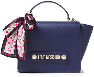 Love Moschino Bow-detailed Logo-embellished Faux Leather Tote