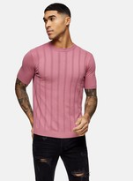 TopmanTopman Rose Pink Vertical Stitch Knitted T-Shirt