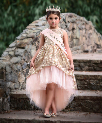 Trish Scully Child Girls' Special Occasion Dresses - Gold & Pink Sequin Hi-Low Dress & 'Birthday Princess' Sash - Infant & Toddler
