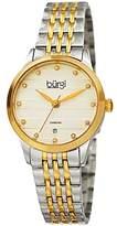 Burgi Women's BUR146TTG Silver and Yellow Gold Quartz Watch With Diamond Dial And Two Tone Bracelet