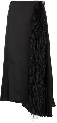 Prada Asymmetric Feather Detail Midi Skirt