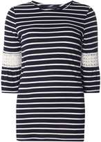 Dorothy Perkins Navy Striped Flutter Sleeve Top