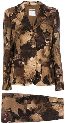 Moschino Pre Owned Leaf Print Skirt Suit