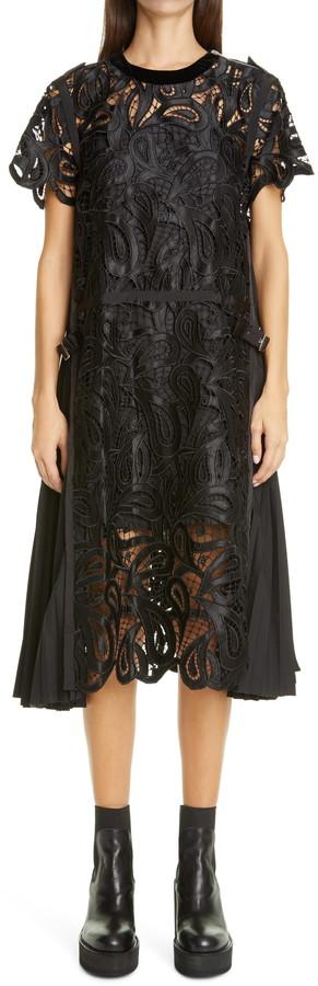 Sacai Satin Paisley Guipure Lace Midi Dress