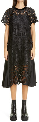 Sacai Satin Paisley Guipure Lace Midi Dress