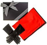 Black Cashmere and Silk Scarf and Cashmere Lined Leather Gloves Gift Set