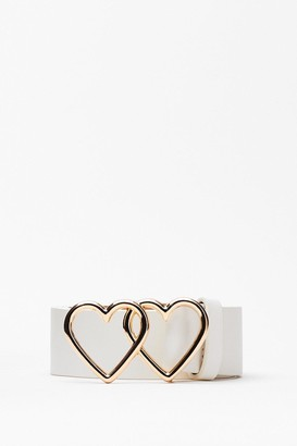 Nasty Gal Womens Heart to Heart Faux Leather Belt - White