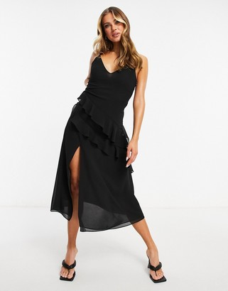 Pretty Lavish midaxi chiffon dress with tiered asymmetric ruffles in black