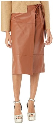 Jason Wu Lambskin Leather Tie Skirt (Tan) Women's Skirt