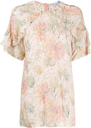 RED Valentino Metallic Embroidered Floral Blouse