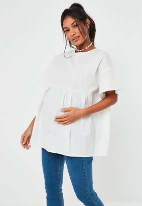 Missguided White Poplin Smock Maternity Top